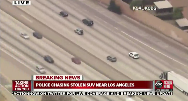 Illustration for article titled Watch The LAPD Chase A Stolen SUV Live Right Now