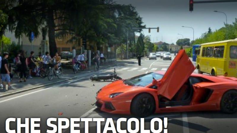 Illustration for article titled Lamborghini Aventador Driver Crashes Into Motorcyclist