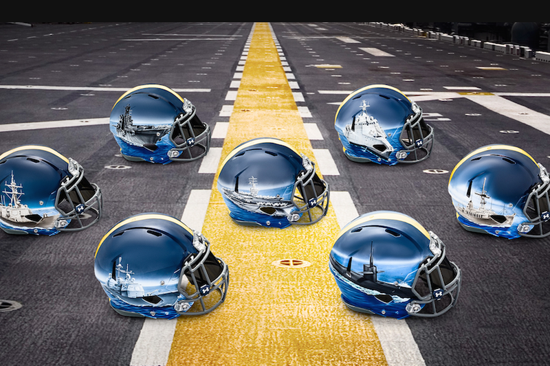 Illustration for article titled Navy's Helmets for the Army-Navy Game Are Sweet