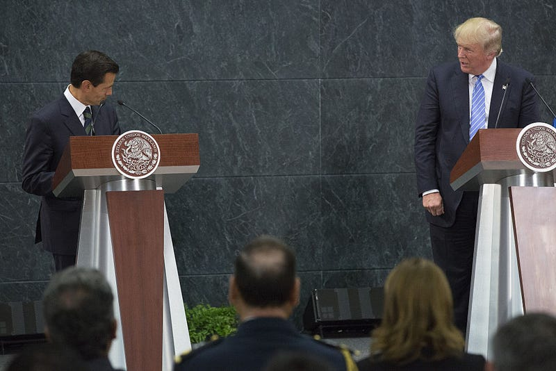 Enrique Peña Nieto, Mexico's president, and Republican presidential nominee Donald Trump speak during a joint conference in Mexico City on Aug. 31, 2016. Susana Gonzalez/Bloomberg via Getty Images