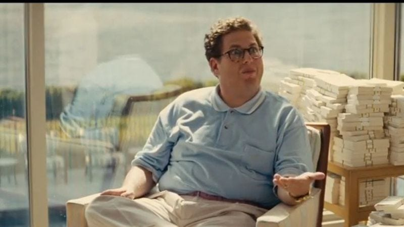 """Illustration for article titled Jonah Hill was paid the """"lowest amount of money possible"""" for The Wolf Of Wall Street"""