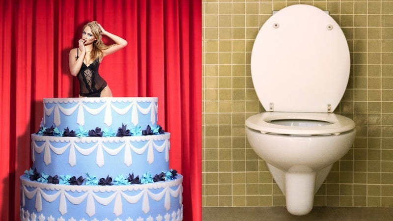 A stripper in a cake and a toilet