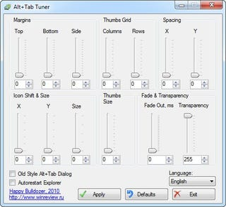 Illustration for article titled Alt+Tab Tuner Makes Windows 7's Task Switcher Thumbnails Larger and Much More