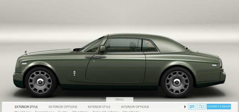 Illustration for article titled All I want in life is a two-tone green Phantom coupe with cornsilk and pine green interior and olive wood ash veneer.
