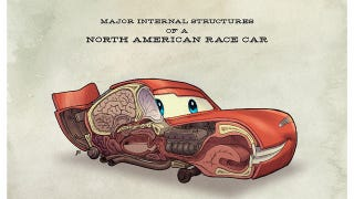 Illustration for article titled Anatomical illustrations of Pixar's Cars reveal where Lightning McQueen keeps his brain