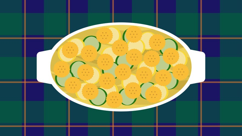 Illustration for article titled Let this Ritz-and-gravy squash casserole be your Thanksgiving's savory savior