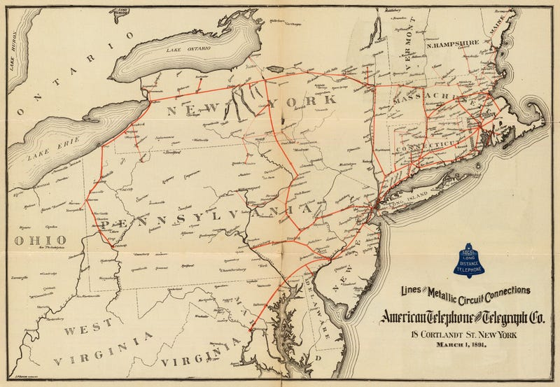 Illustration for article titled A Stunning Map of AT&T's Phone Network from 1891