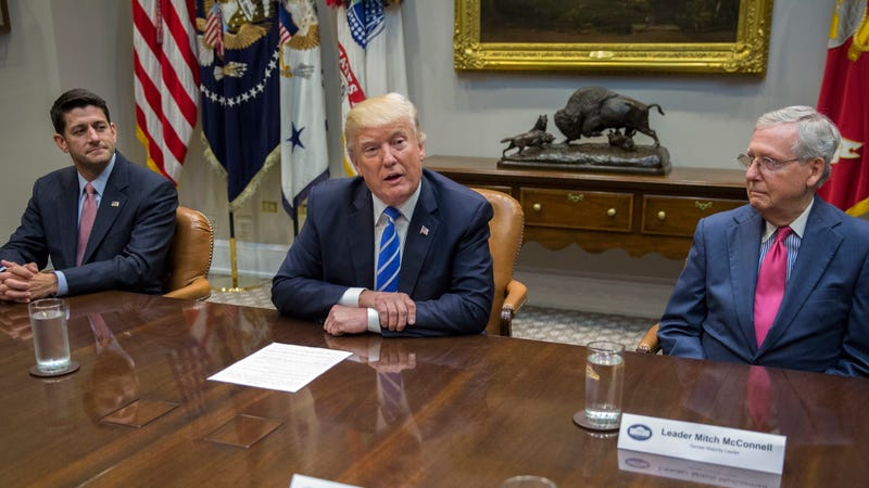 President Donald Trump (center), with House Speaker Paul Ryan (left) and Senate Majority Leader Mitch McConnell, at the White House on Sept. 5, 2017