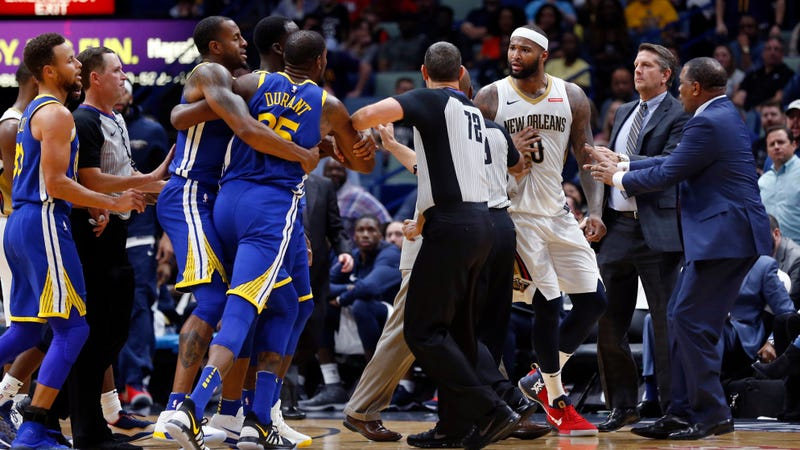Kevin Durant, DeMarcus Cousins get ejected, need to be separated