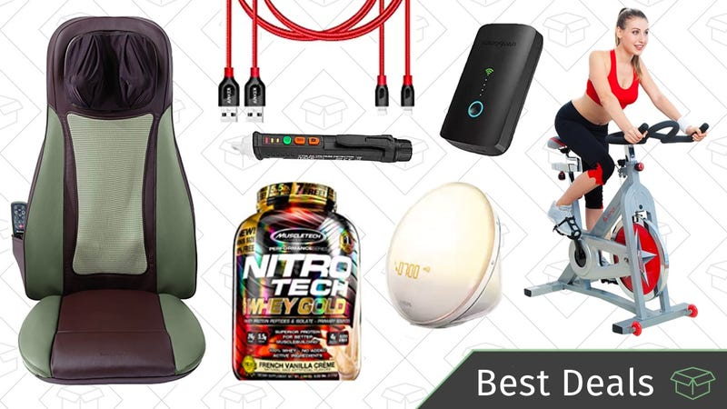 Illustration for article titled Tuesday's Best Deals: Philips Wake-Up Light, Fitness Gear, Massage Gold Box, and More
