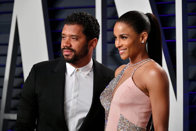 Russell Wilson (L) and Ciara attend the 2019 Vanity Fair Oscar Party hosted by Radhika Jones on February 24, 2019 at the Wallis Annenberg Center for the Performing Arts in Beverly Hills, California.