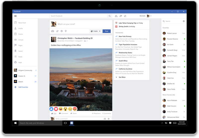 Illustration for article titled Facebook and Messenger Apps Come to Windows 10