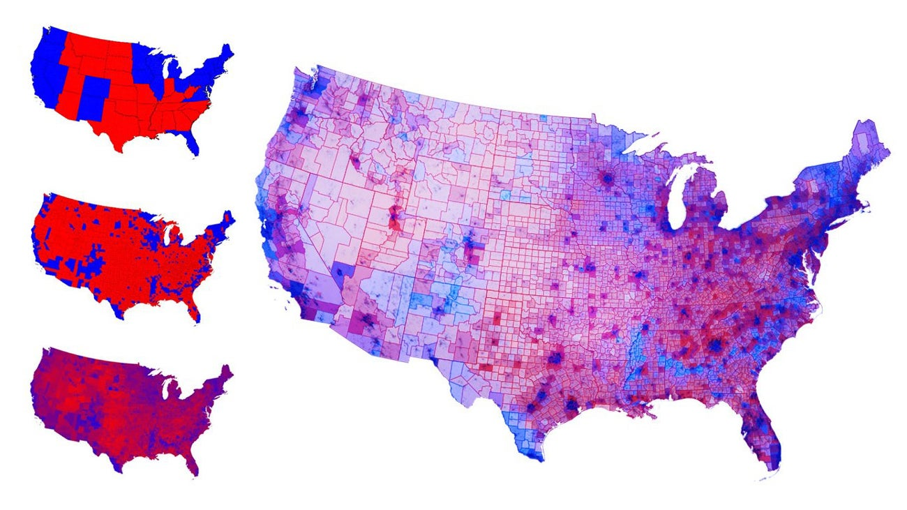 Map of the us by political party