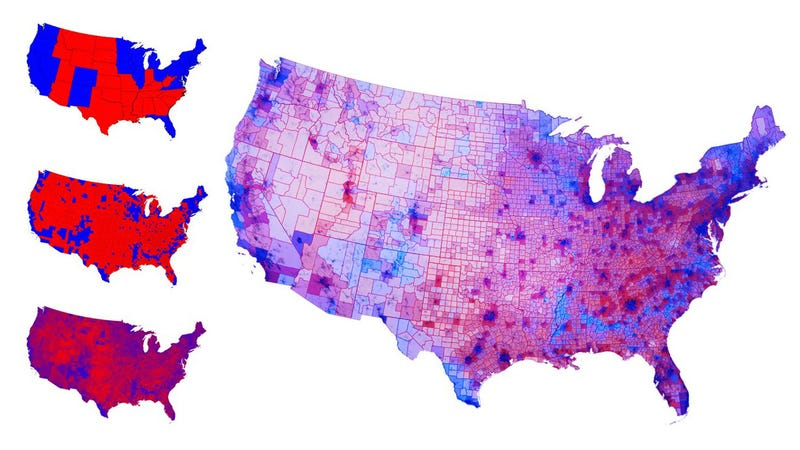 This Was The Real Political Map Of America After The Election - Us political map adjusted for population 2016