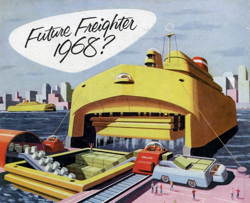Illustration for article titled This 1950s Ad Showed the Sleek Future of Shipping Automation