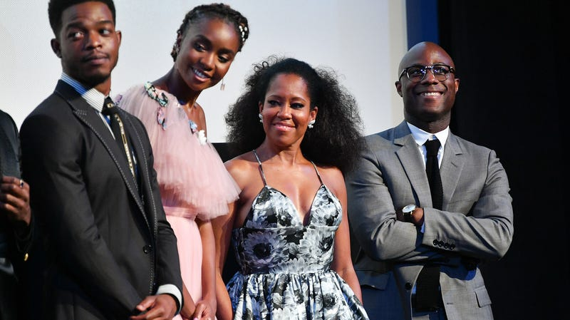 (From left to right) Stephan James, KiKi Layne, Regina King, and Barry Jenkins speak onstage at the 'If Beale Street Could Talk' U.S. premiere Q&A during the 56th New York Film Festival at The Apollo Theater on October 09, 2018 in New York City