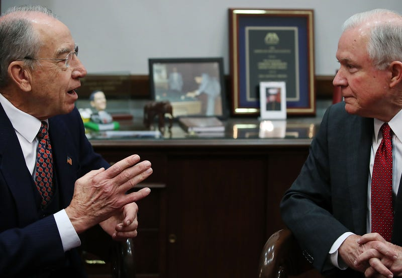 Senate Judiciary Committee Chairman Chuck Grassley (R-Iowa) meets with U.S. Attorney General nominee Sen. Jeff Sessions (R-Ala.) on Capitol Hill in Washington, D.C., on Nov. 29, 2016.Mark Wilson/Getty Images