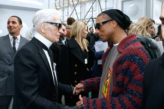 Karl Lagerfeld and Pharrell Williams attend the Chanel show as part of the Paris Fashion Week Womenswear Fall/Winter 2017/2018 on March 7, 2017, in Paris. (Bertrand Rindoff Petroff/Getty Images)