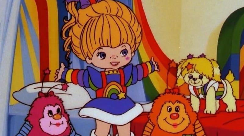 Rainbow Brite, a couple of sprites, and her dog Puppy Brite.