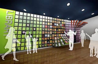 Illustration for article titled Wall Of iPads Could Be Used In Libraries To Display iBooks, Just Like This Concept Rendering