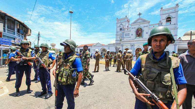 Sri Lankan army troops outside St. Anthony's Shrine in Colombo on April 21, 2019, which was reported to be a target of the attacks.