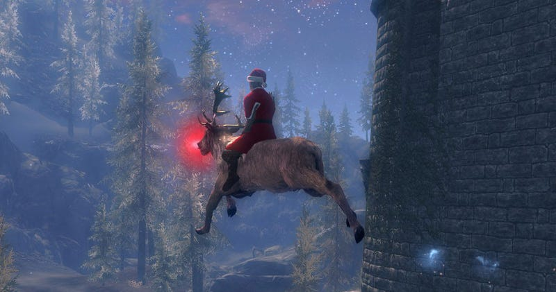 Illustration for article titled Santa Is Trying To Deliver Presents To Everyone In Skyrim