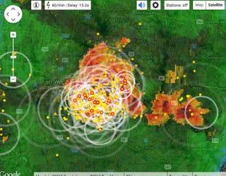 Illustration for article titled A map of the lightning bolts narrowly missing me right now