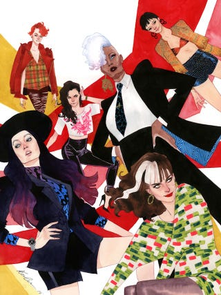 Illustration for article titled The all-lady X-Men team gets a high-fashion group portrait