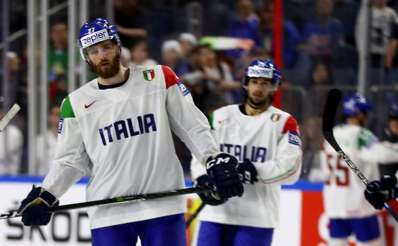 Thomas Larkin, left, playing for Italy at the 2017 IIHF World Championships.