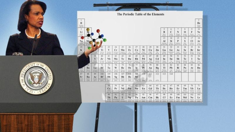 Condoleezza Rice displays for reporters one of the many varieties of atoms Iran is believed to already possess.