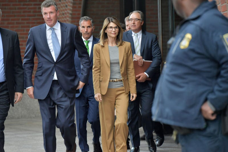 Lori Loughlin exits the John Joseph Moakley U.S. Courthouse after appearing in federal court to answer charges stemming from college admissions scandal on April 3, 2019 in Boston.