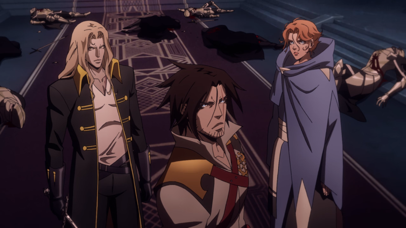 Alucard, Trevor, and Sypha steel themselves in a stellar sequence from Castlevania's second season.