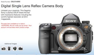 Illustration for article titled Sony Alpha900 DSLR Now on Pre-Order, Due 30th October