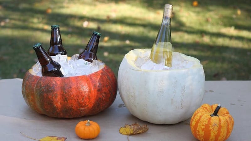 if youre hosting a halloween party youre probably going to have a few pumpkins around for carving or decoration turn a couple into tabletop coolers