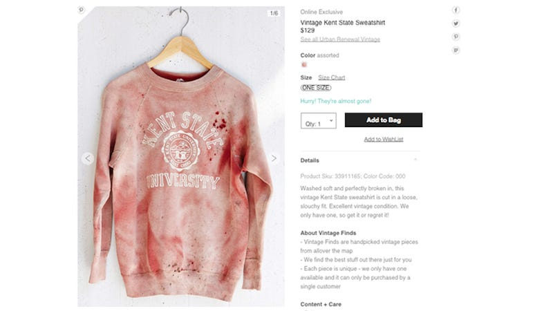 Illustration for article titled ​Urban Outfitters Offers 'Vintage' Blood-Splattered Kent State Shirt [Updated]