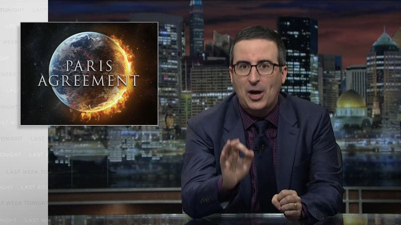Illustration for article titled John Oliver takes deep breath, explains why the Paris agreement helps us breathe on Last Week Tonight