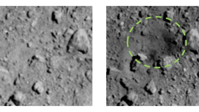 New Photos Show the Surprisingly Big Crater Blasted Into Asteroid Ryugu by Japan s Hayabusa2 Probe