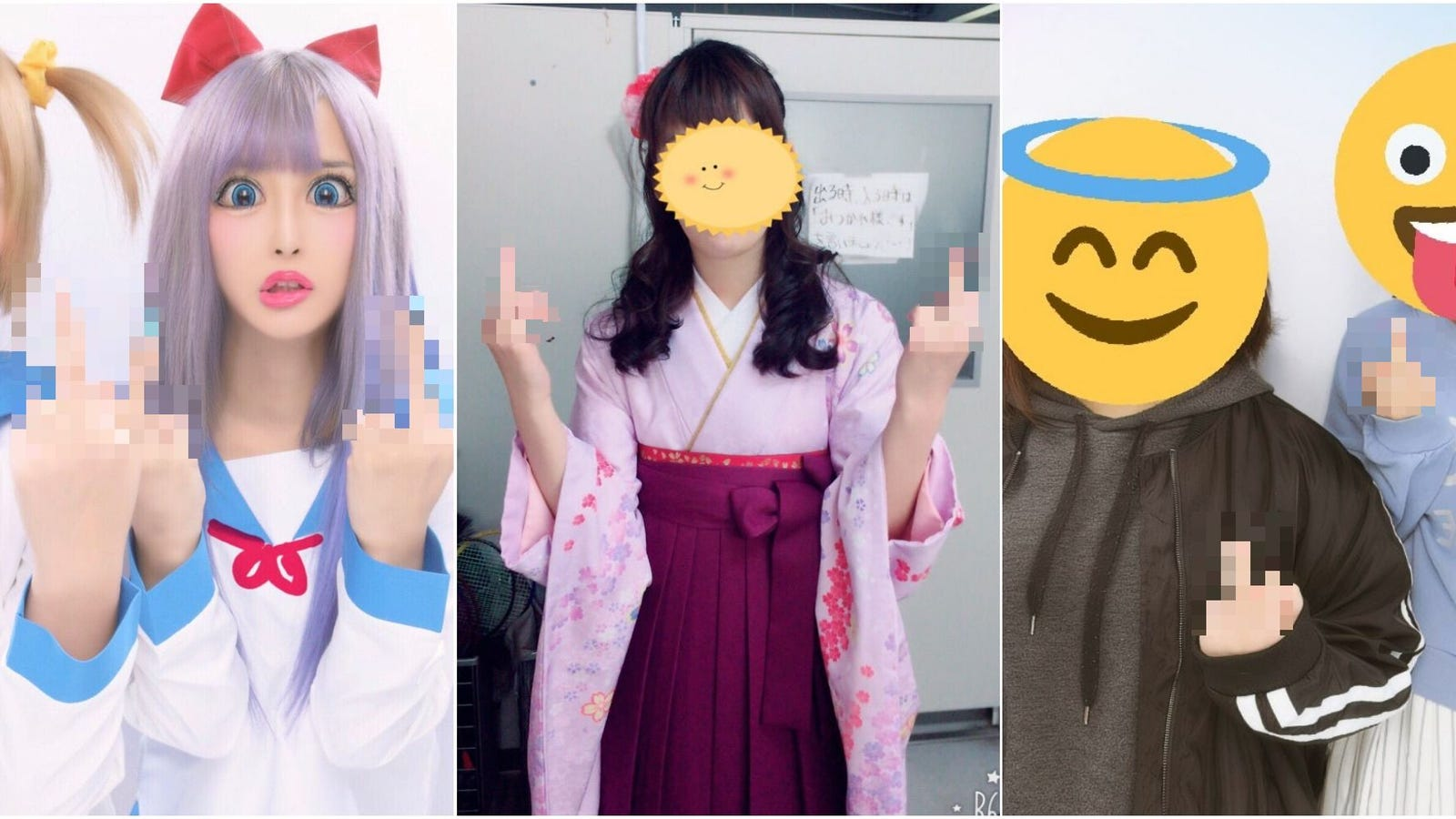 Flicking People Off Becomes A Photo Trend Among Pop Team Epic Fans