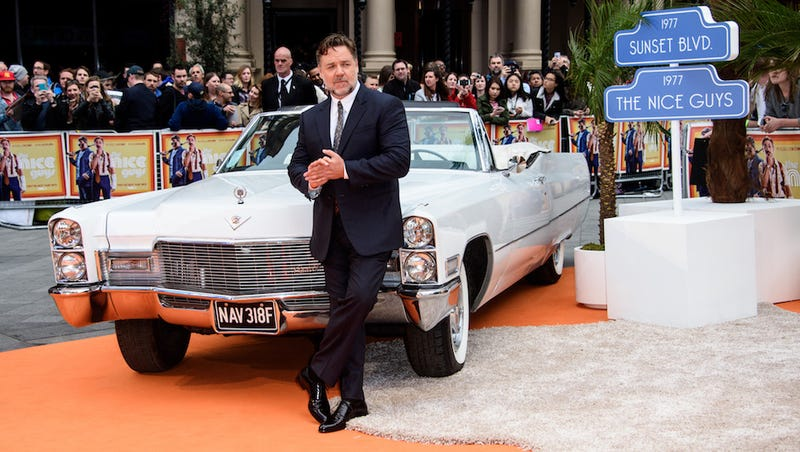 Russell Crowe and a Cadillac, but probably not one you will be able to drive with BOOK by Cadillac. (Image: AP)