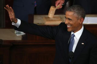 President Barack Obama waves before giving the State of the Union speech before members of Congress in the House chamber of the U.S. Capitol Jan. 20, 2015, in Washington, D.C.  Mark Wilson/Getty Images
