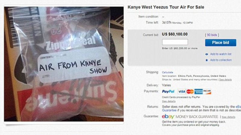 Illustration for article titled Fans bid more than $60,000 for bag of air from Kanye show