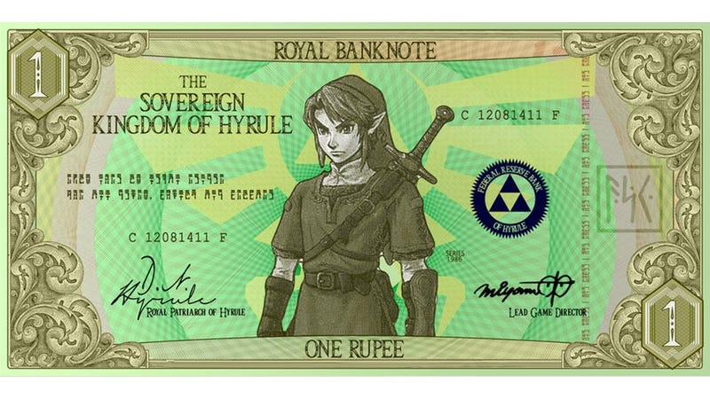 Illustration for article titled Kingdom Of Hyrule Decommissions Actual Rupees, Switches To Paper Curency