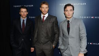 bfb8431718796b ... Kellan Lutz and Ed Westwick pose backstage at the Tommy Hilfiger Men s  Spring 2012 fashion show during Mercedes-Benz Fashion Week at The Highline  ...