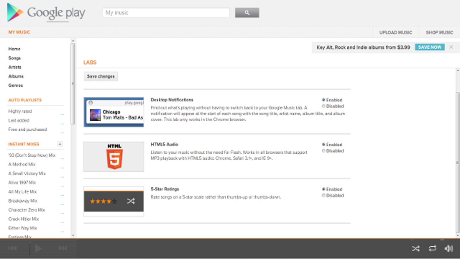 Enable Desktop Notifications, HTML5 Audio, and Five Star