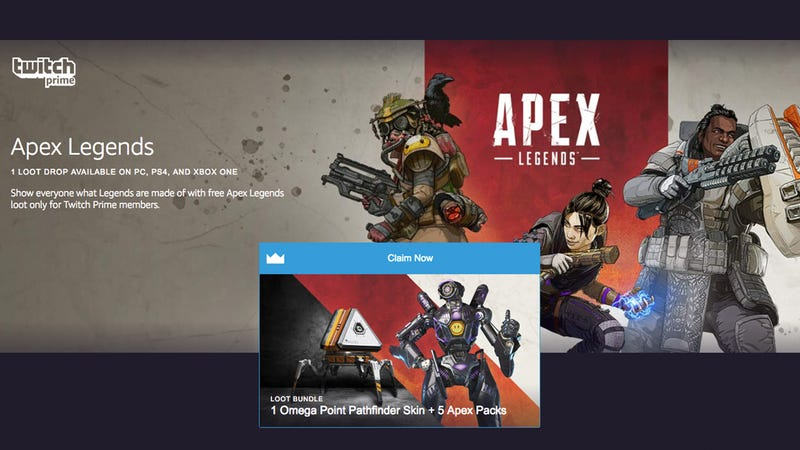 Legendary Omega Point Pathfinder skin and 5 Apex Packs | Free | Twitch Prime/Amazon Prime Exclusive
