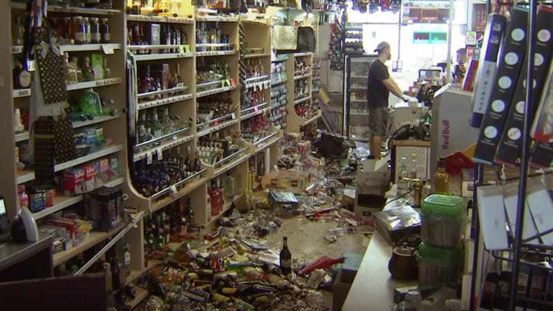A liquor store in Ridgecrest, California on July 6, 2019, following a magnitude 7.1 earthquake.