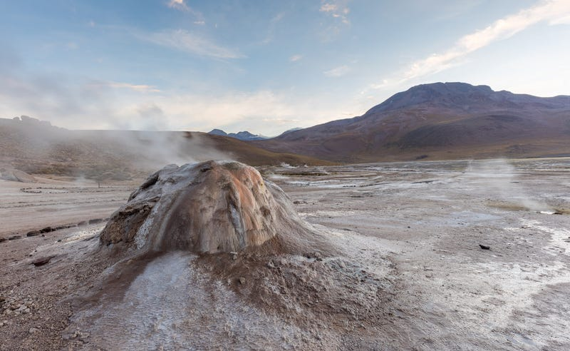 Close up of a geyser at El Tatio, a Mars-like environment located high in the mountains of northern Chile.