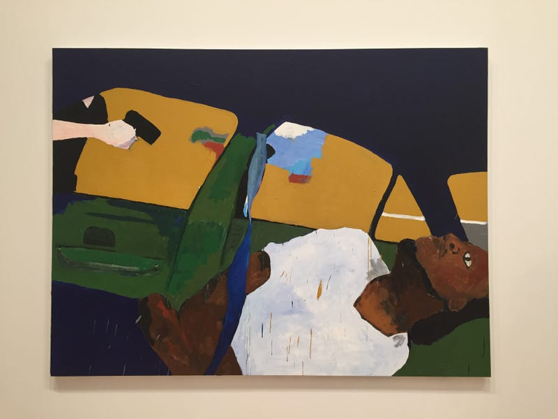 Henry Taylor, THE TIMES THAY AINT A CHANGING, FAST ENOUGH!, 2017.  Acrylic on canvas, 72 by 96 inches (182.9 by 243.8 cm).(Collection of the artist; courtesy of Blum & Poe, Los Angeles/New York/Tokyo. Courtesy of the Whitney Museum of American Art)