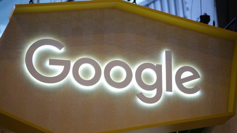 A Google logo at Paris-based gadget show Vivatech in June 2017.