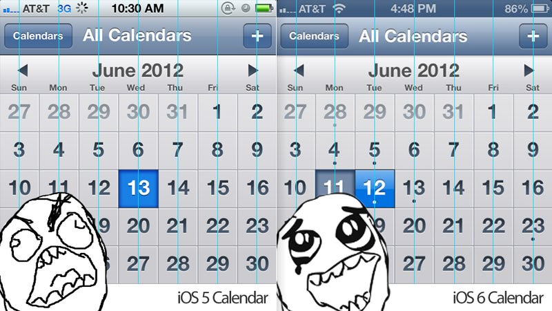 Illustration for article titled Apple Has Fixed the Horrendous Weekday Placement In iOS 6 Calendar (REJOICE!)